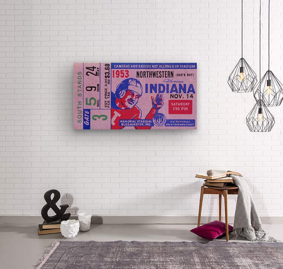 1953 Indiana Hoosiers vs. Northwestern Wildcats  Wood print