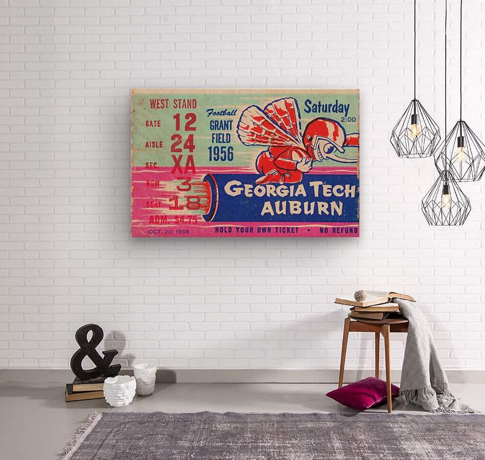 1956 Georgia Tech vs. Auburn Football Ticket Stub Art  Wood print