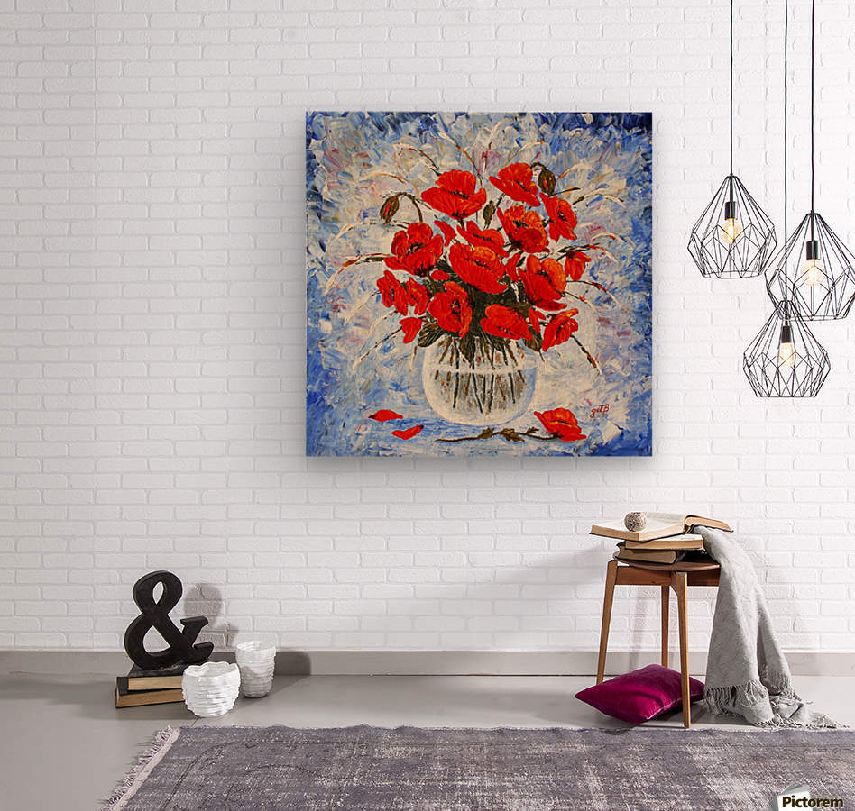 Morning Red Poppies original palette knife painting  Wood print