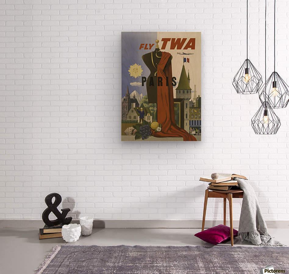 Fly TWA Paris Tourism Poster  Wood print