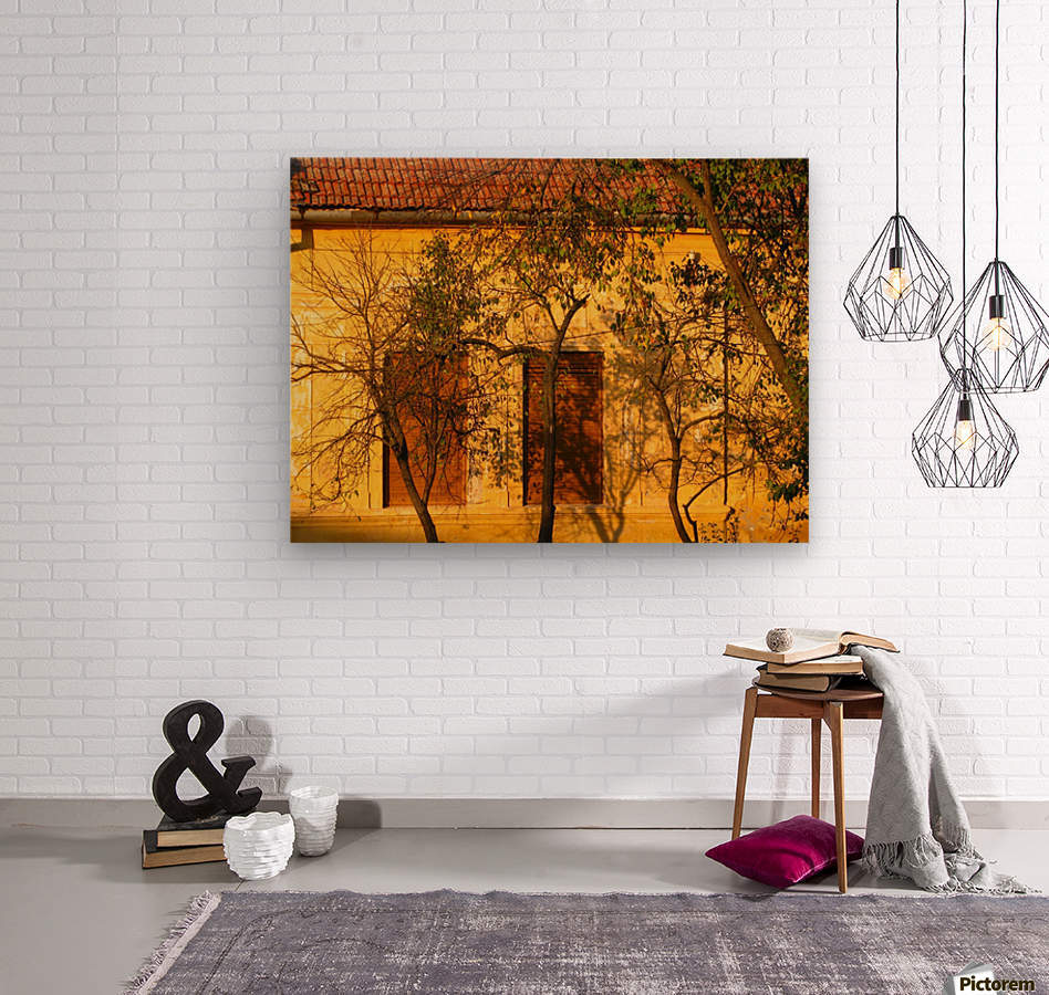 Autumn day in old town Varias  Wood print