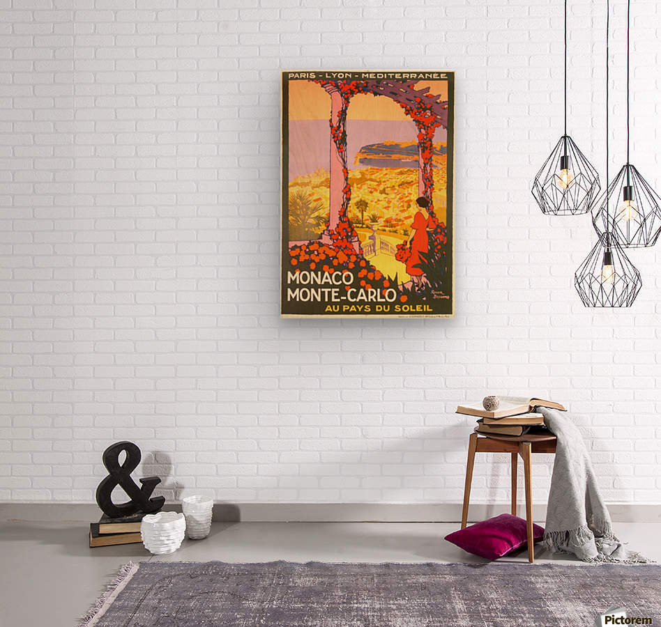 Monaco Monte Carlo 1920 vintage poster  Wood print
