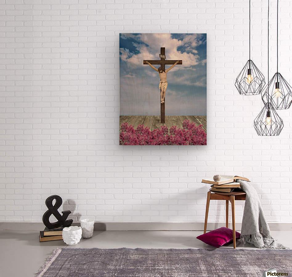 Jesus on the Cross Illustration  Wood print