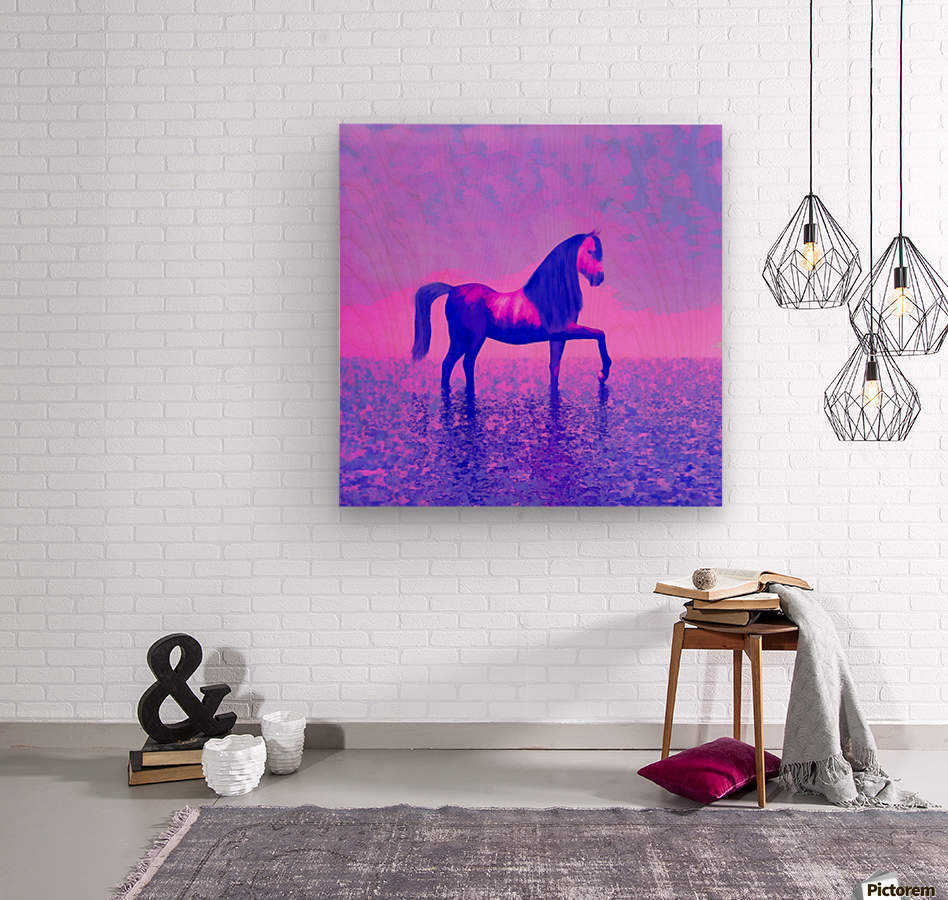 lonely horse  Wood print