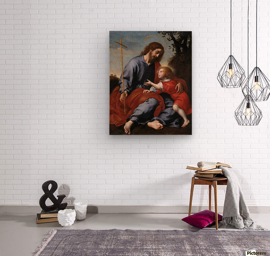 San Giuseppe mostra la croce a Gesu Bambino  Wood print