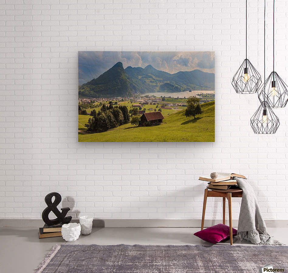 Seewen, a village on Lake Lauerz; Schwyz Canton, Switzerland  Wood print