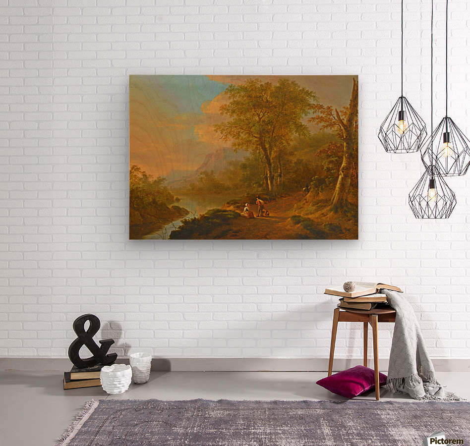 Travellers in a river landscape  Wood print