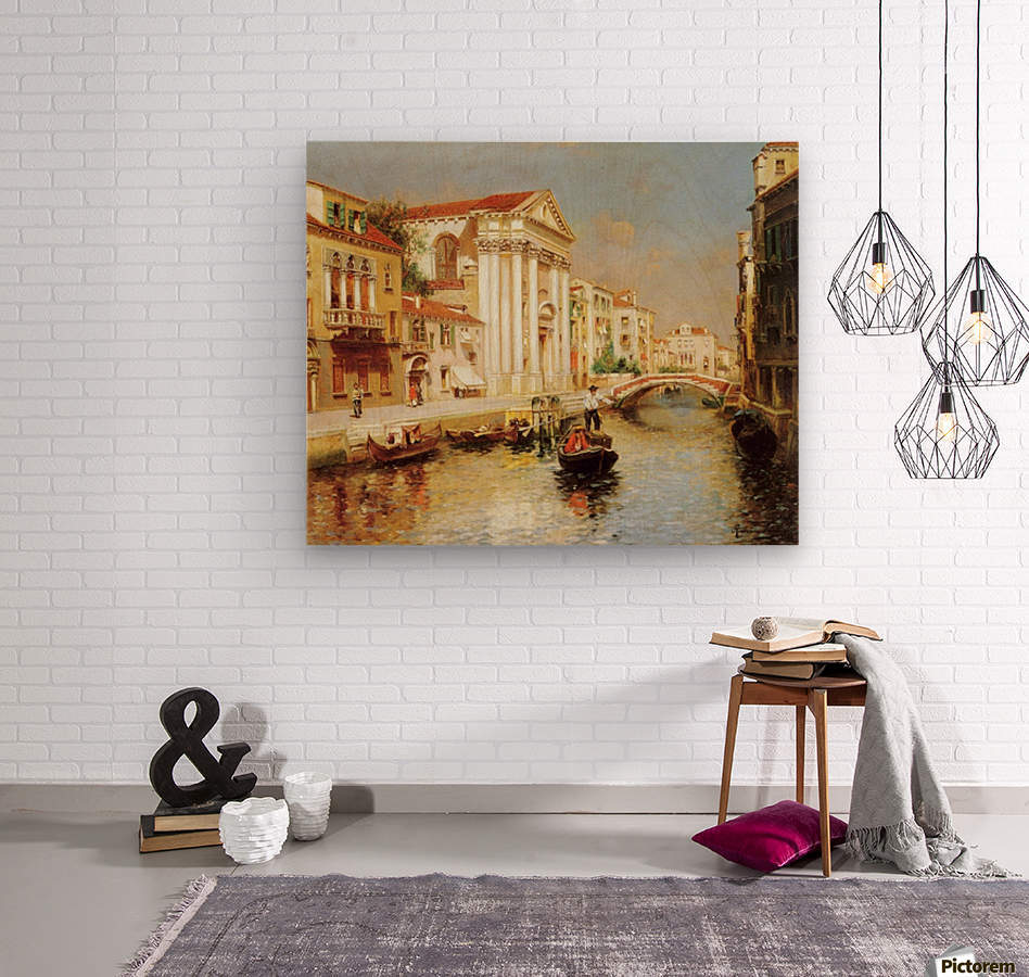 Along the Venetian Canal  Wood print
