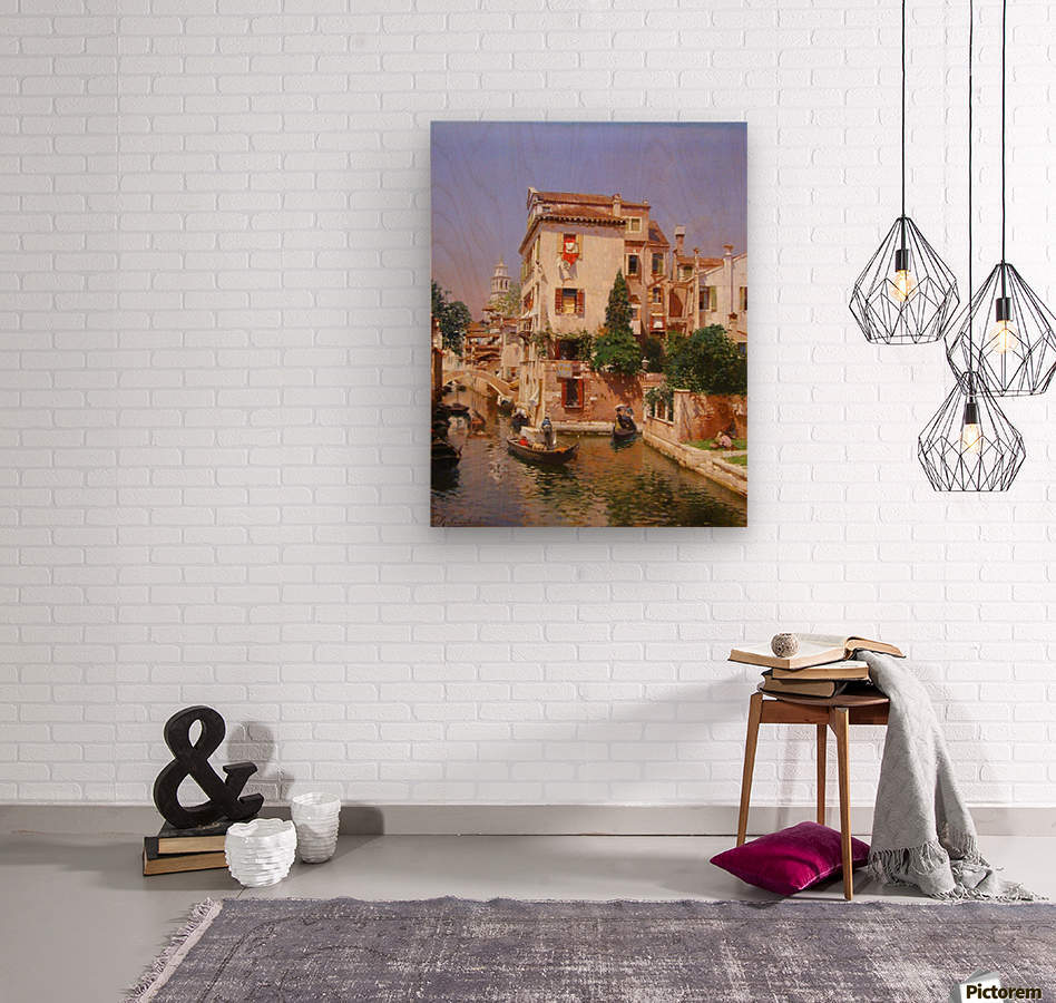 Gondoliers On A Venetian Canal  Wood print