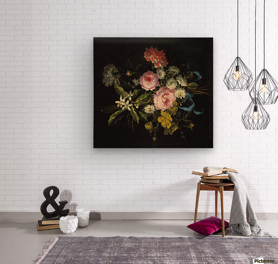 Bouquet of Chamomile, French roses and other flowers  Wood print