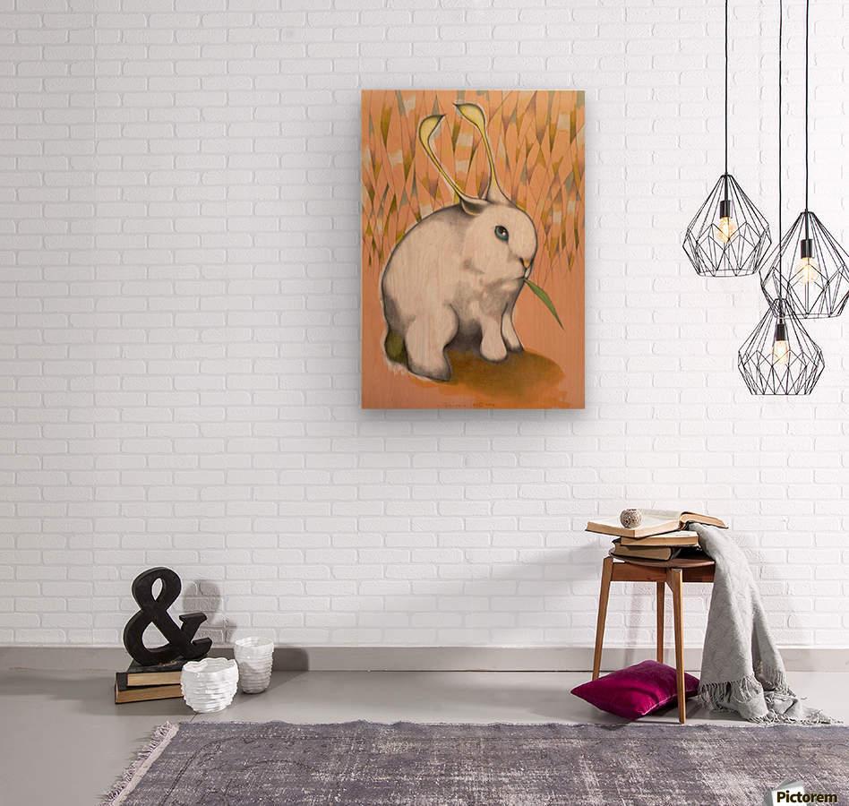 Bunny Alien  Wood print