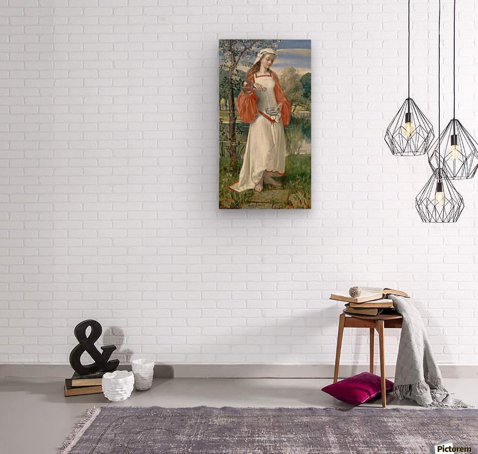 Allegorical Maiden in white dress  Wood print