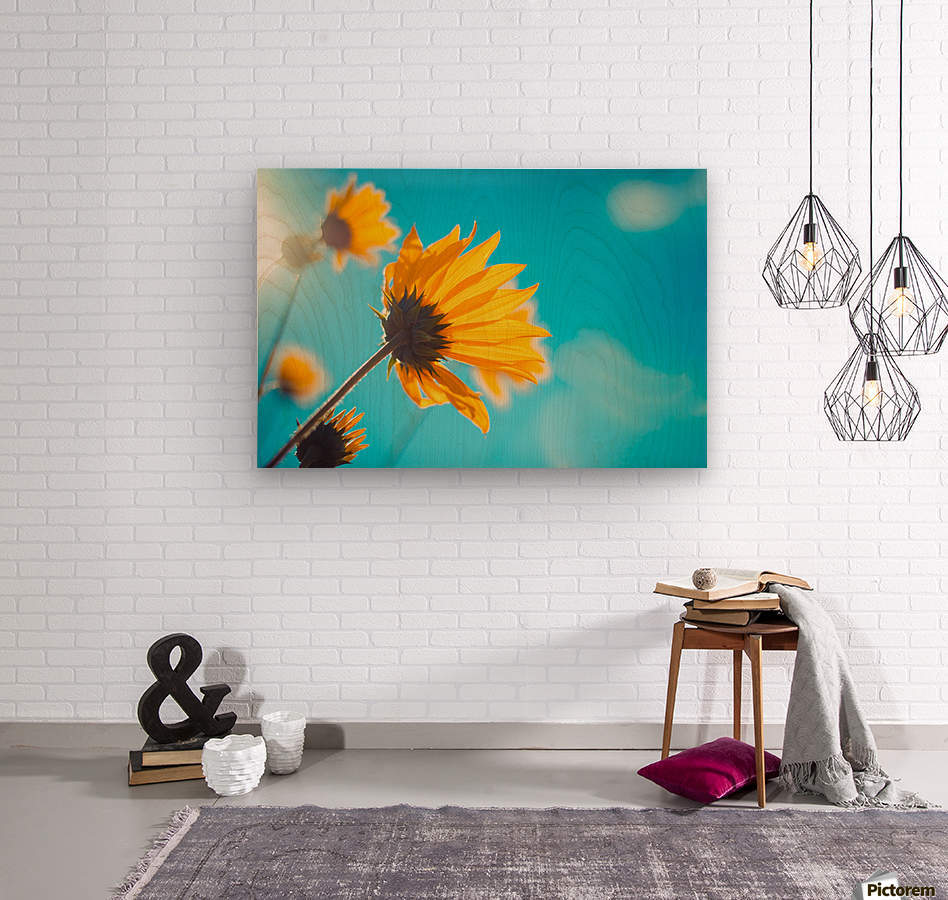 Yellow flowers and blue sky  Wood print
