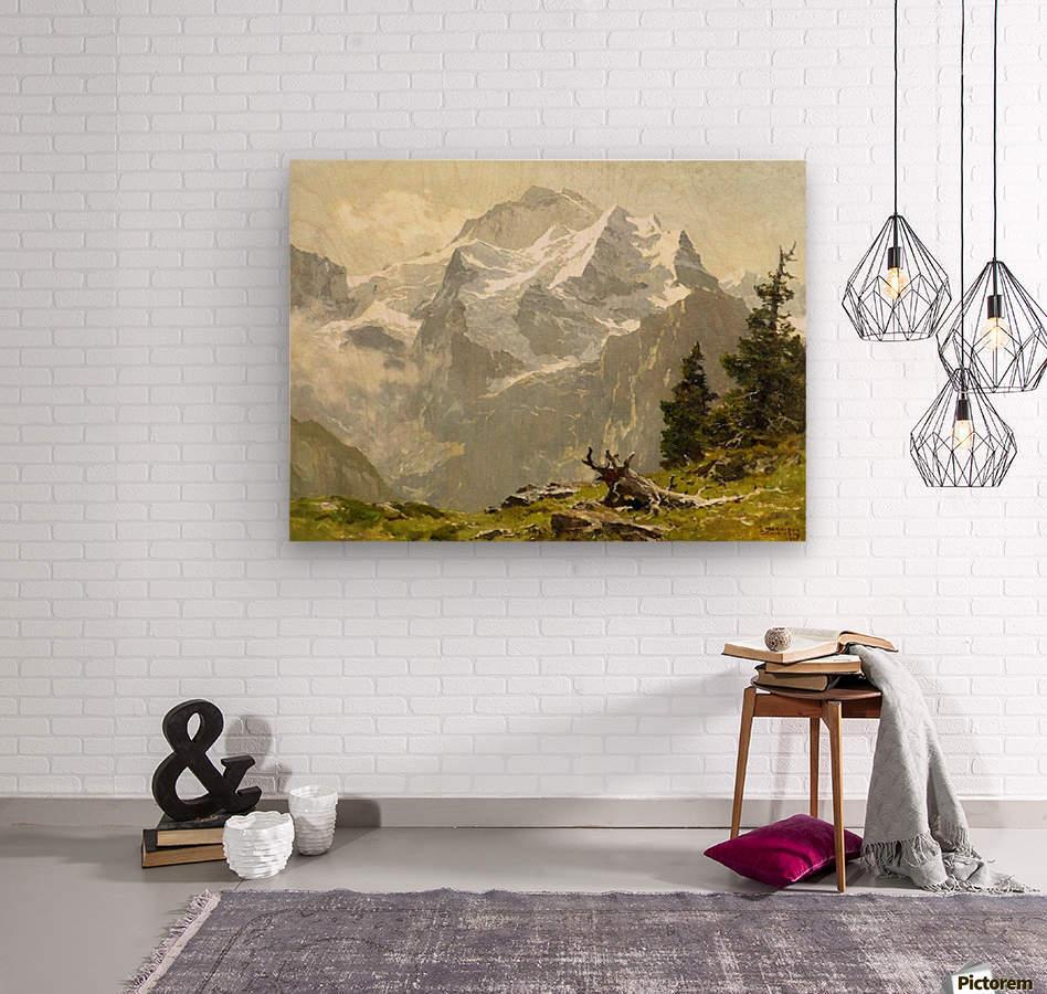 Snowcaps  Wood print