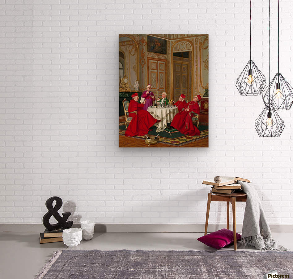 A couple of cardinals in the living room  Wood print