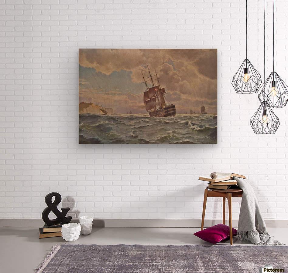 Ship along the line off the coast, 1875  Wood print
