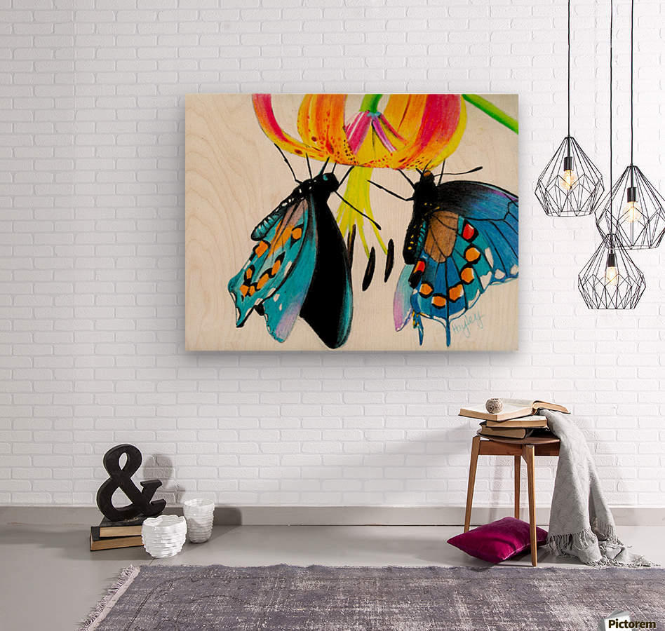 Butterflies and Lily  Wood print