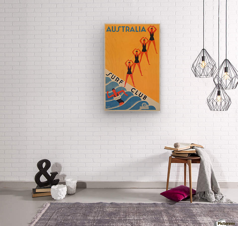 Australia Surf Club poster  Wood print