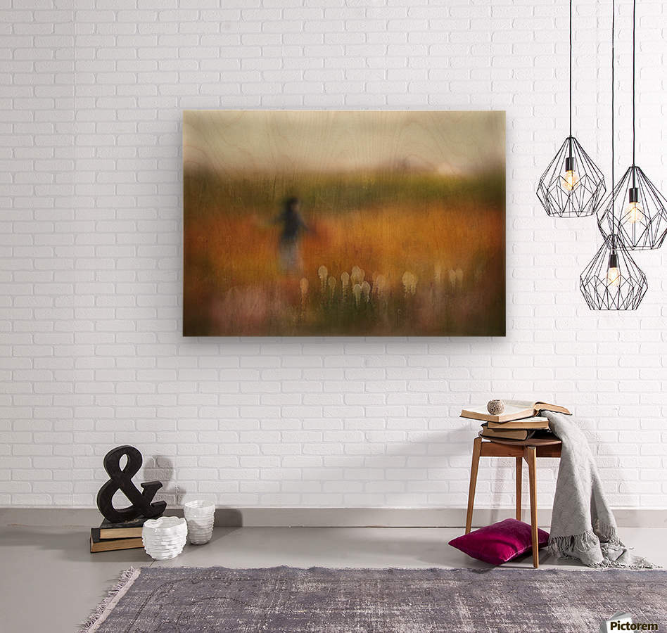 A Girl and Bear grass  Wood print
