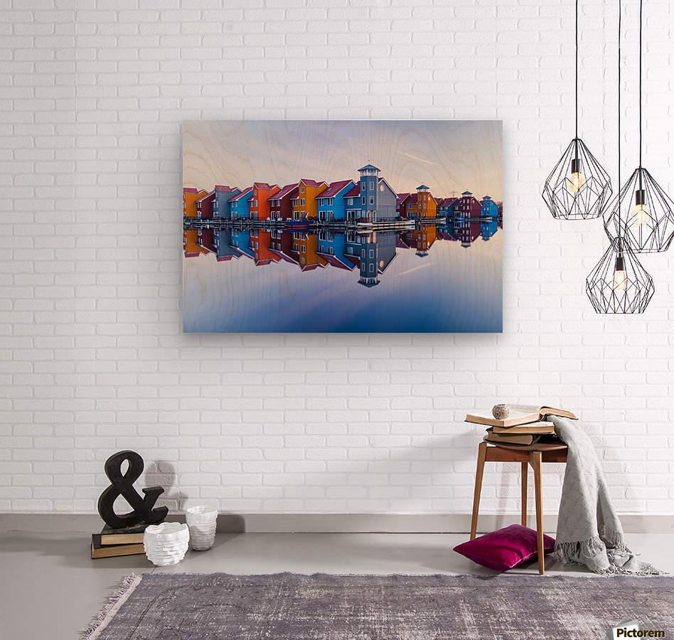 Colored homes  Wood print