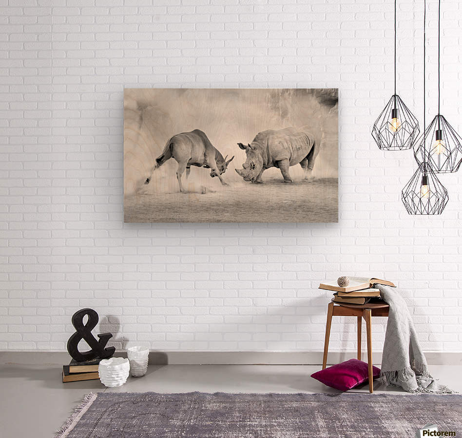 Combat.  Wood print