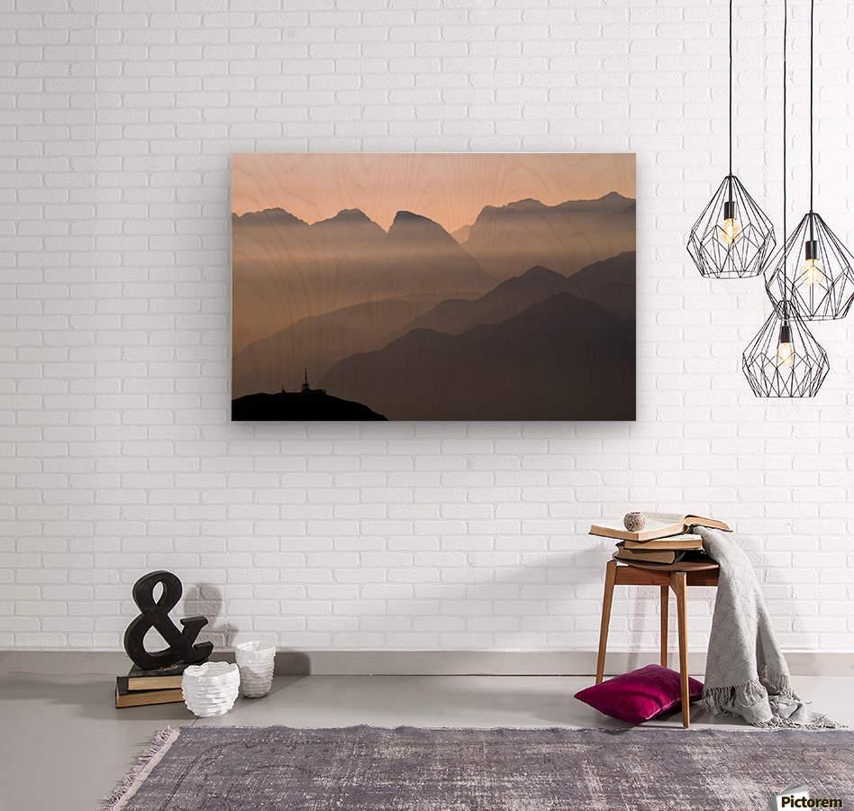Alpine Sunset  Impression sur bois