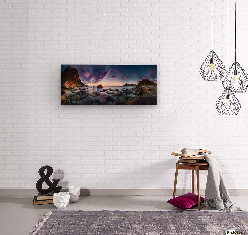 Utakleiv sunset  Wood print