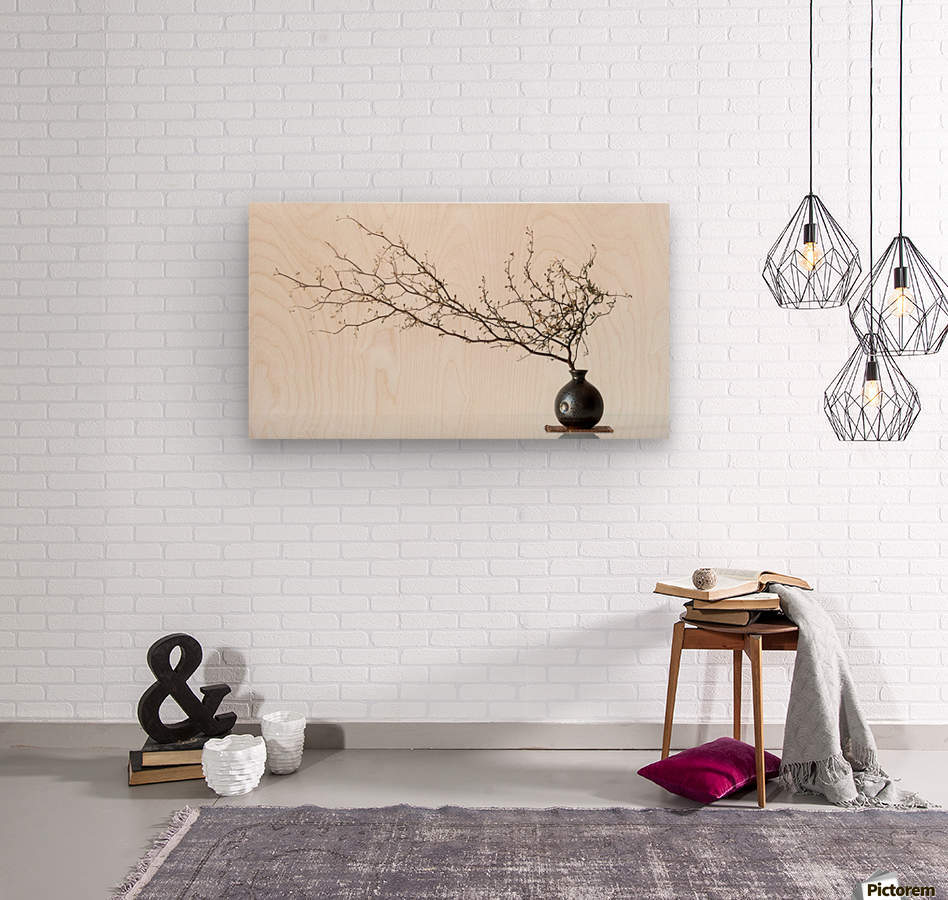 Vase And Branch  Wood print