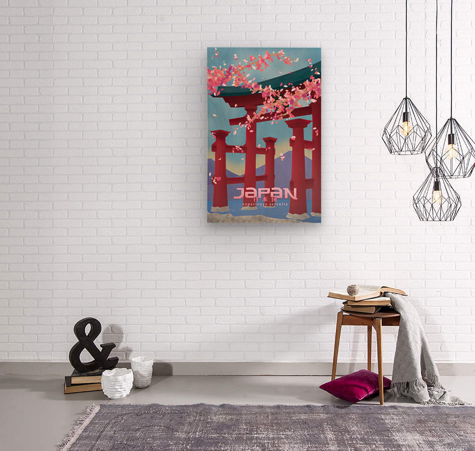Japan Experience serenity travel poster  Wood print