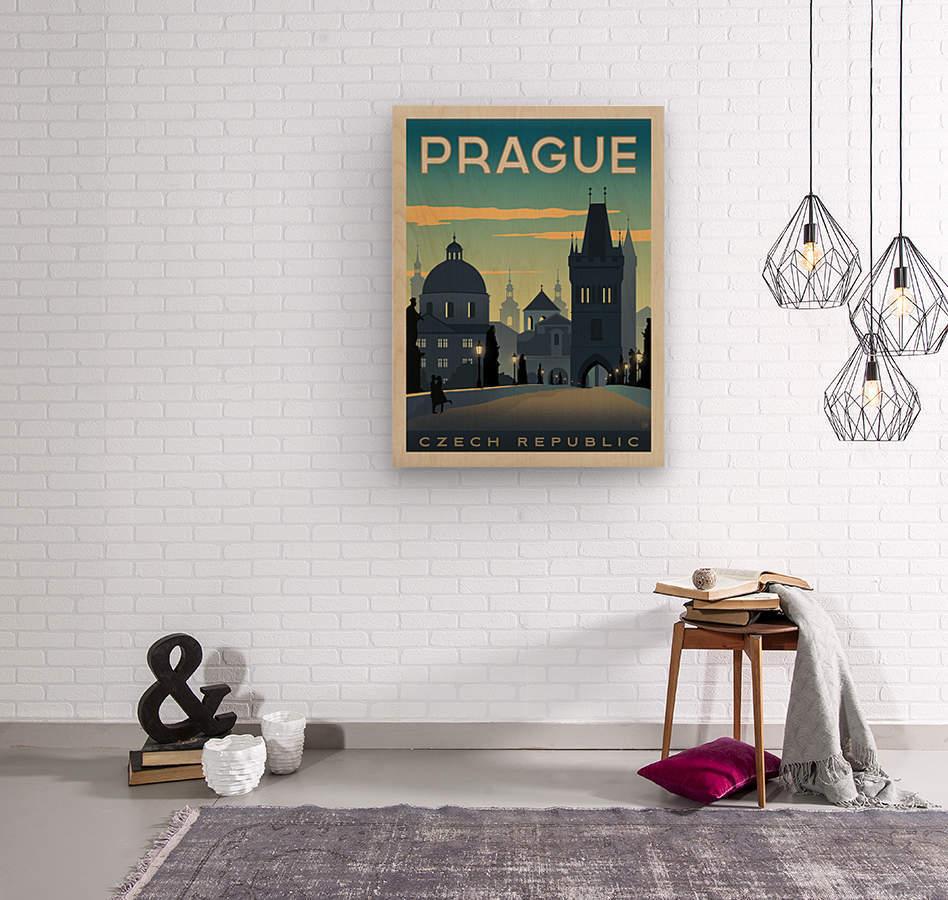 Prague vintage travel poster  Wood print