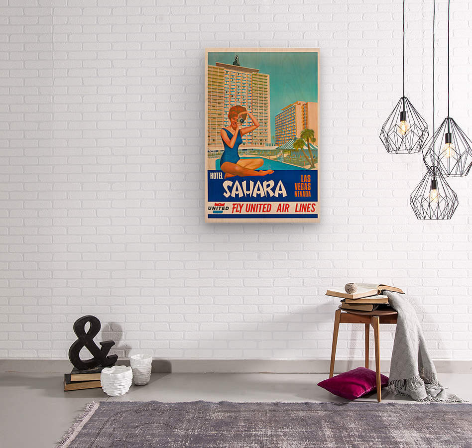 Hotel Sahara Las Vegas Nevada  Wood print