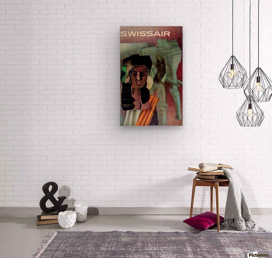Swiss Air India Travel Art Poster  Wood print
