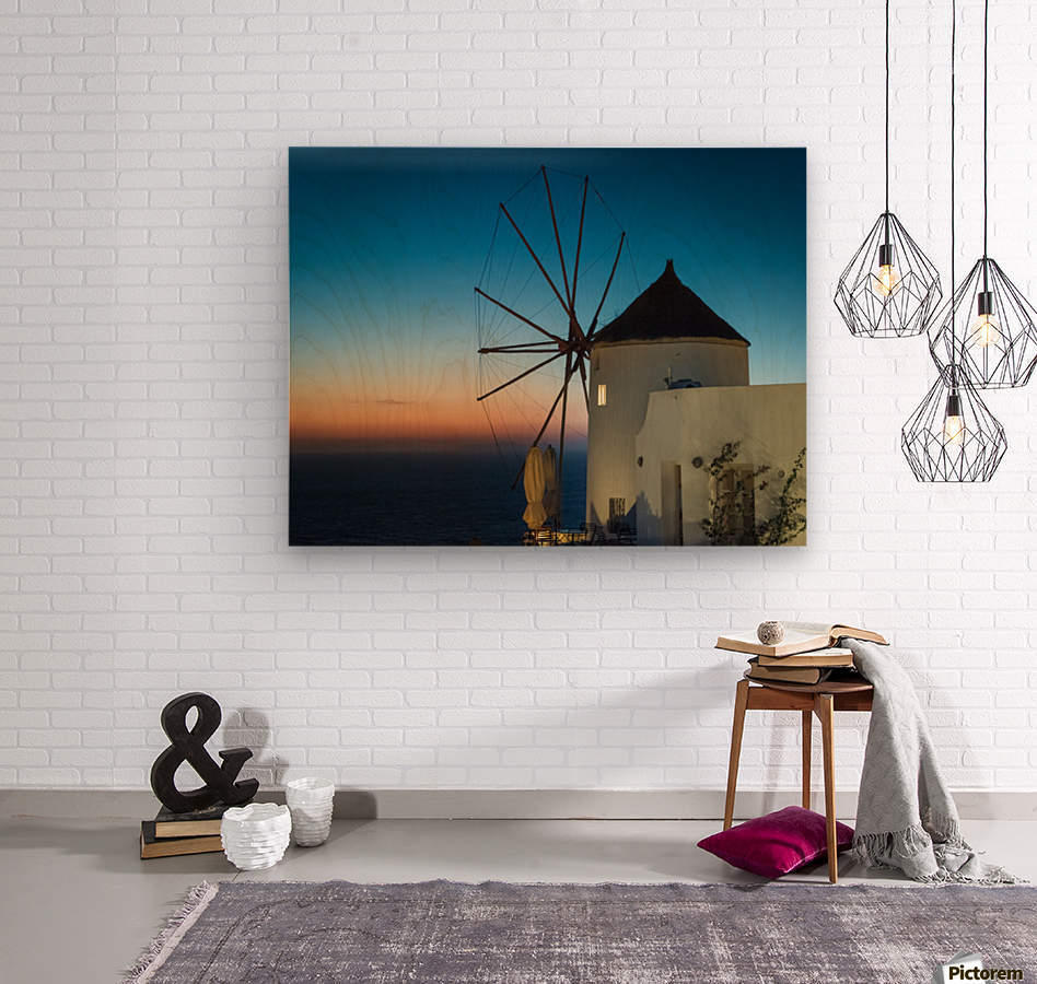 Mills Oia Night  Wood print
