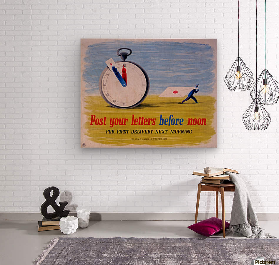 Post your letters before noon  Wood print