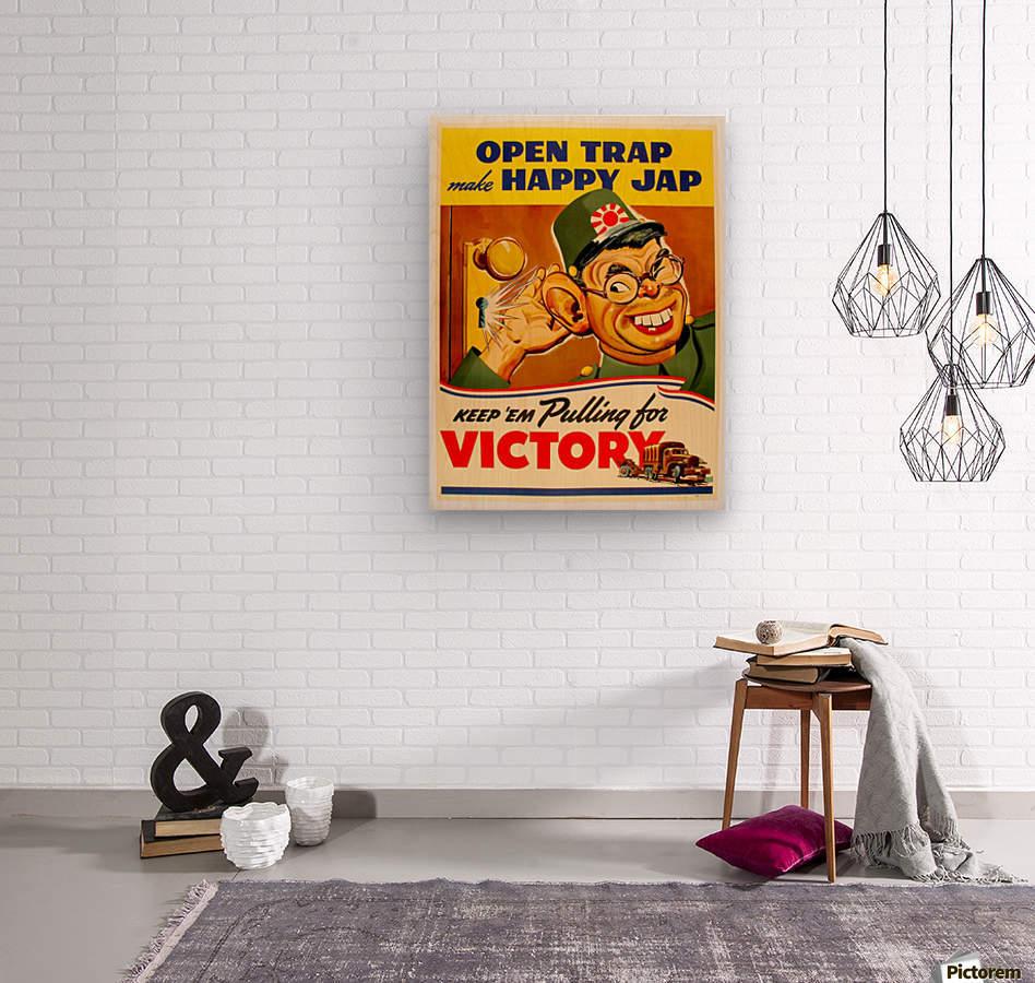 American anti Japanese propaganda from World War II  Wood print