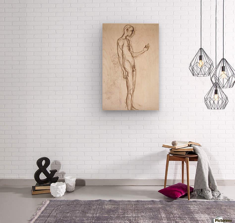 Contemplation Figure Study  Wood print