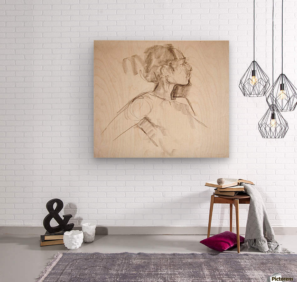 Female Profile Study  Wood print