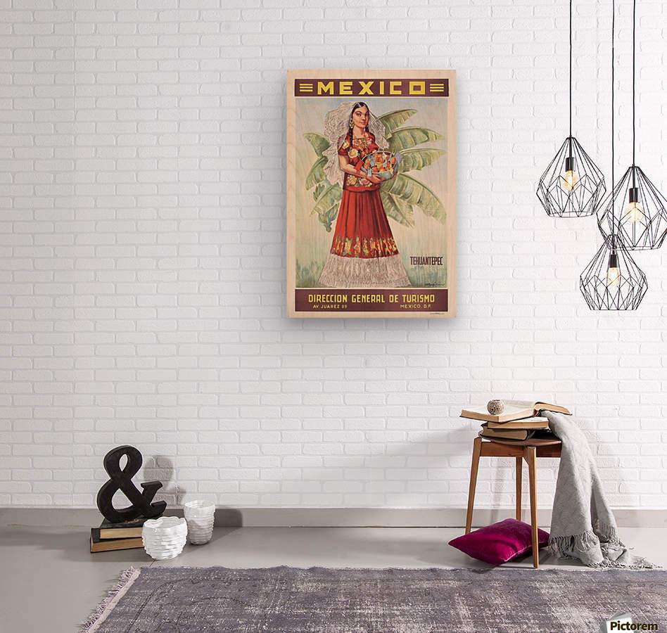 Mexico Tehuantepec vintage poster  Wood print