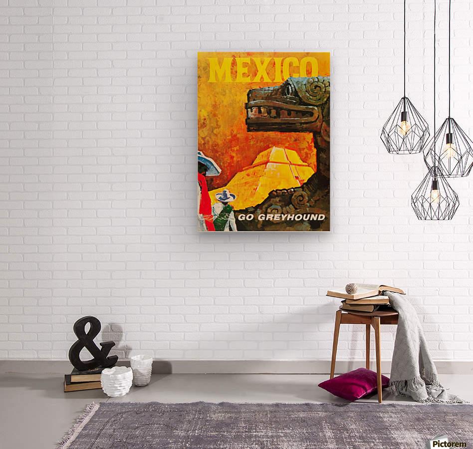 Mexico Go Greyhound Travel Poster  Wood print