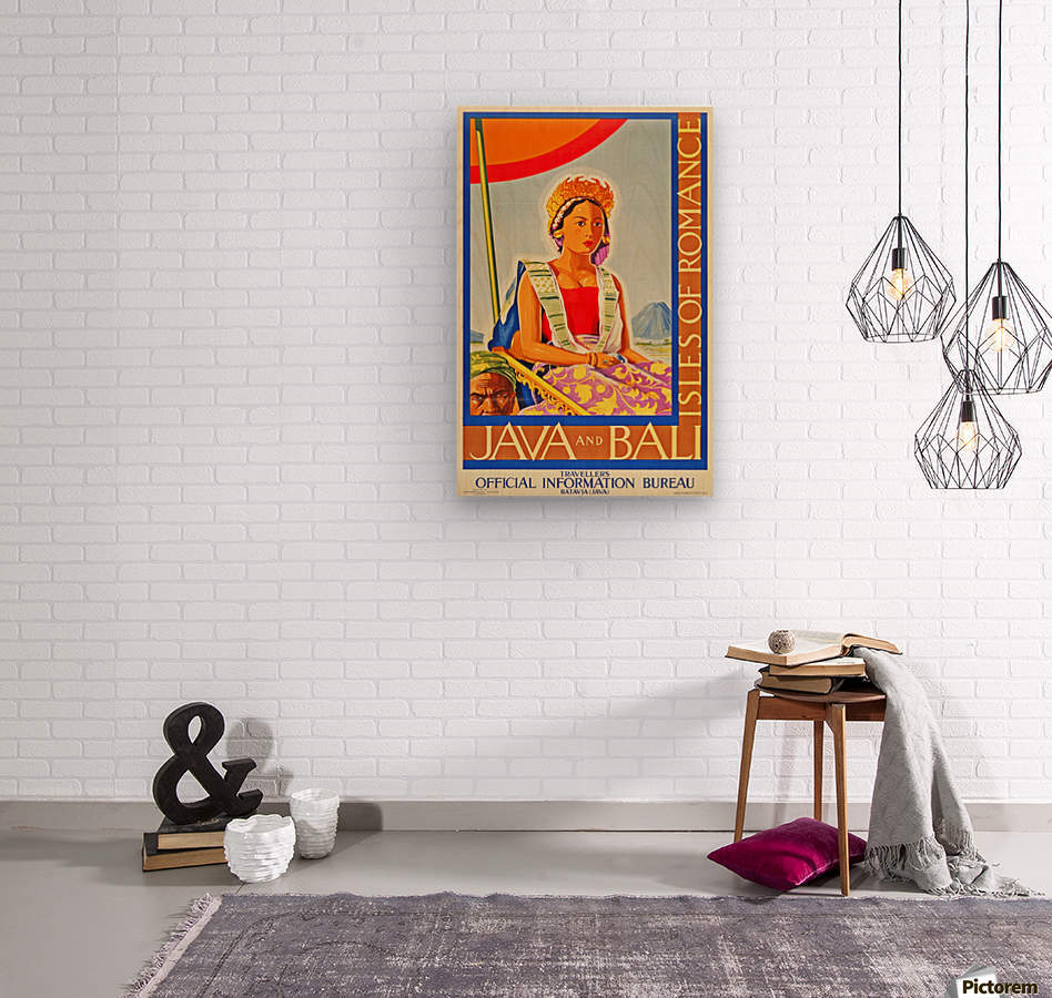 Java and Bali travel poster  Wood print
