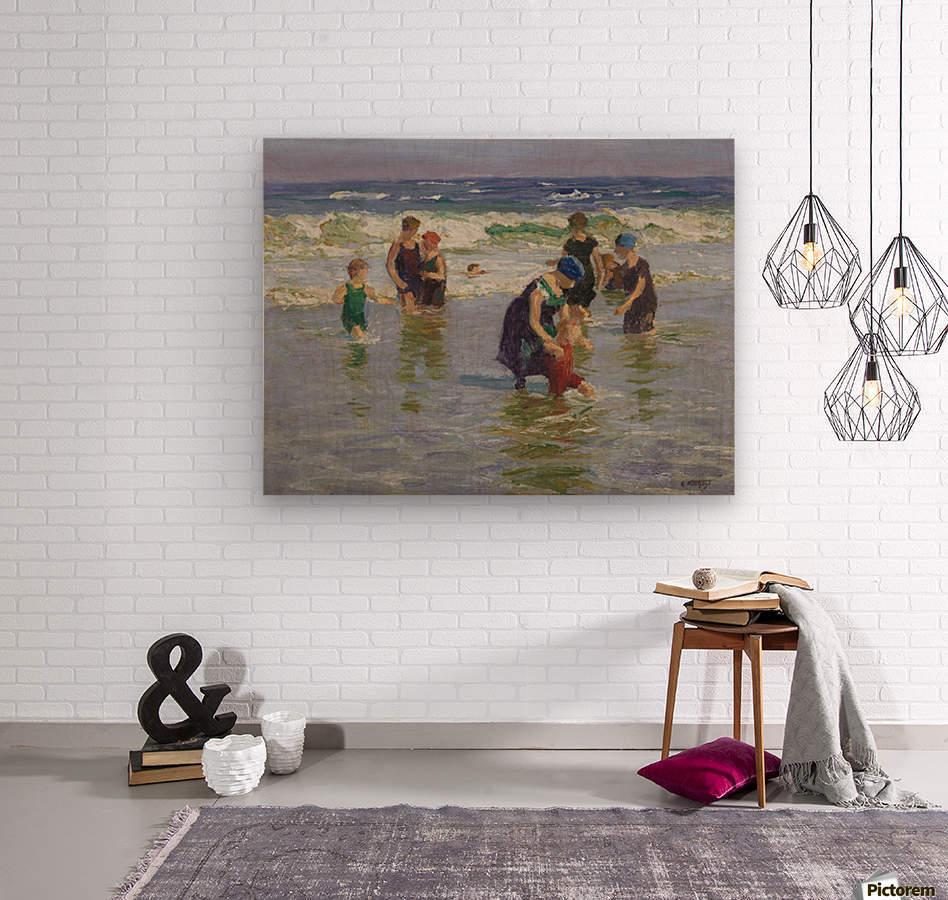 People enjoying the sea  Wood print
