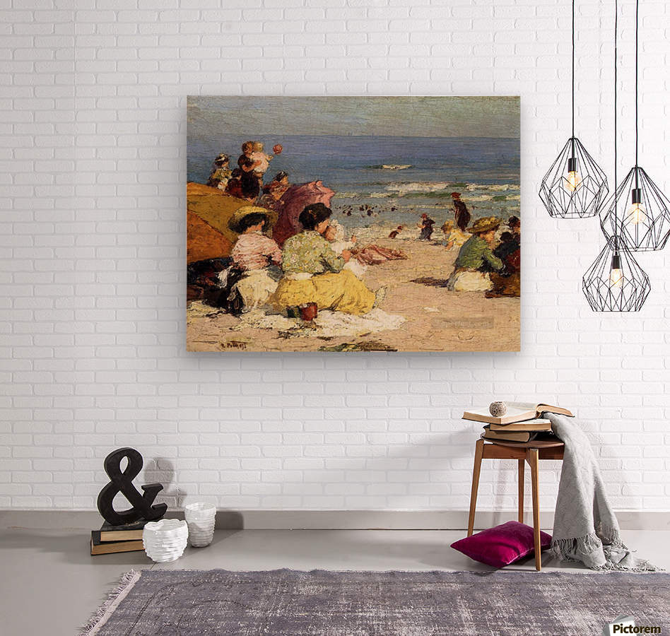 People relaxing by the beach  Wood print