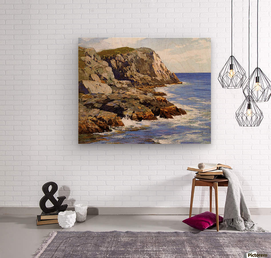 Cliffs and the sea landscape  Wood print