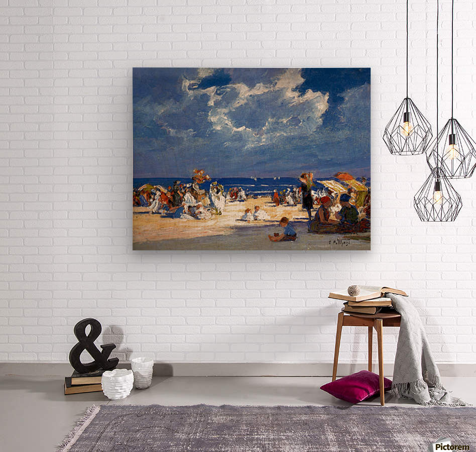 People by the beach  Wood print