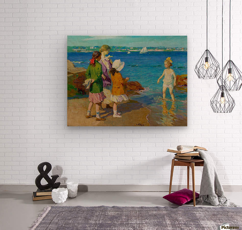 At The Beach and Cold Feet  Wood print