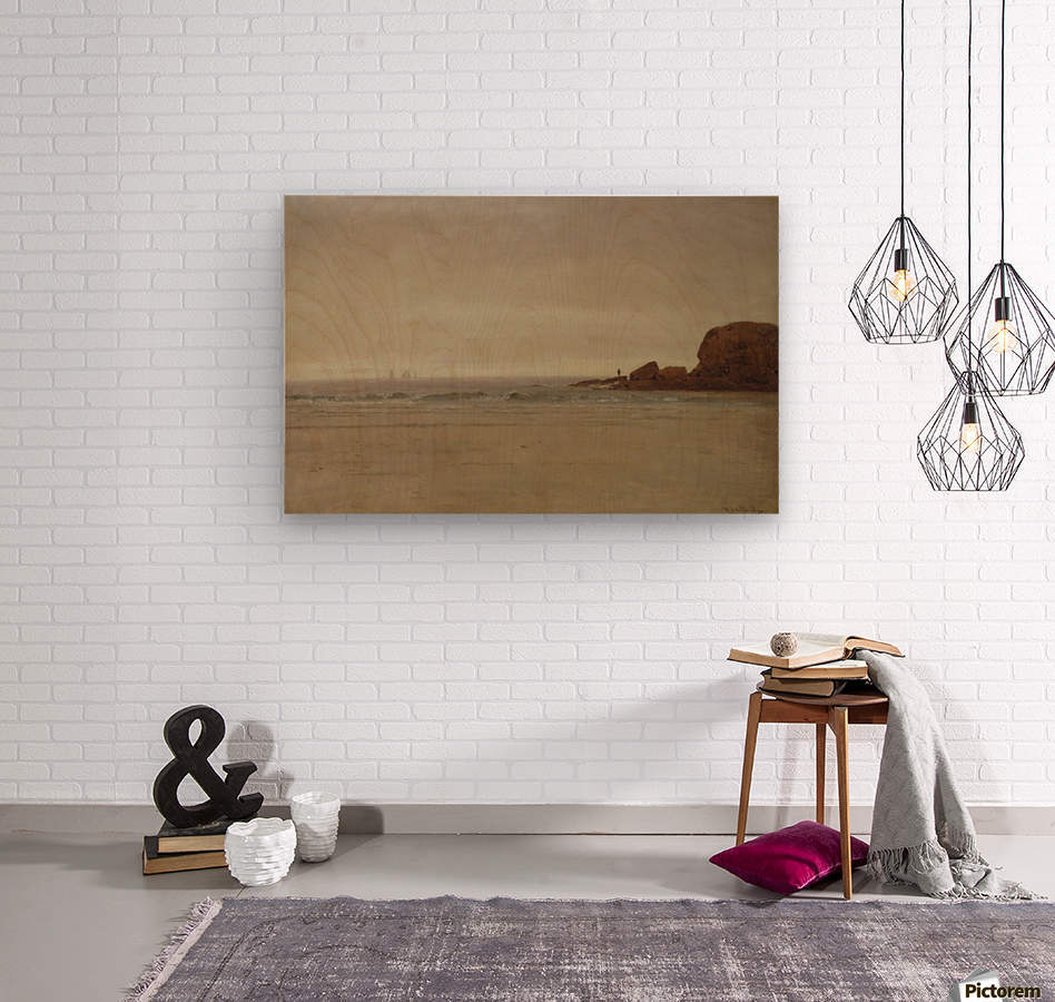 Beach and Rocks  Wood print