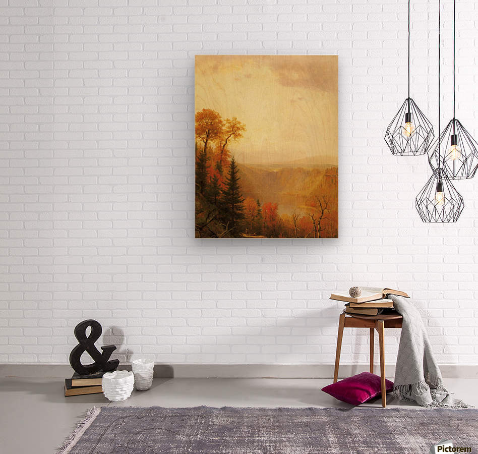 A lake in the forest  Wood print