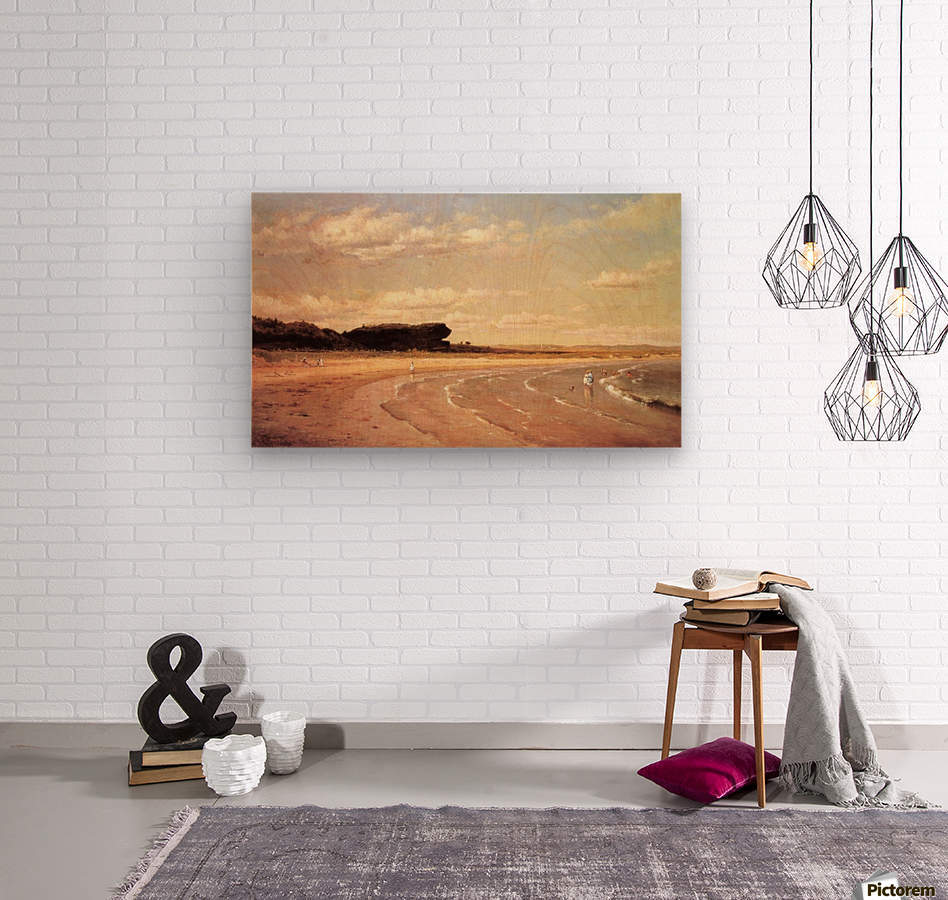 Second Beach Newport in sunset  Wood print