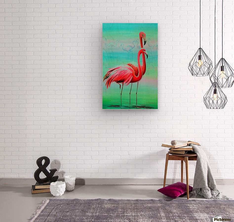 Фламинго на рассвете   Wood print