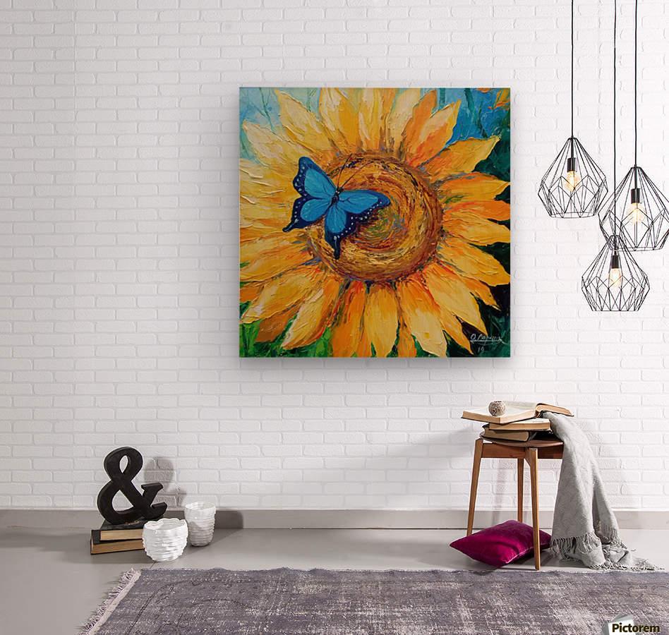 Подсолнух и бабочка  Wood print